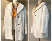 40% MOVING SALE 1960s Penny Lane coat / white faux fur coat / 60s mid length coat / GOLD buttons, bucket pockets / Rocker hippie coat / wome