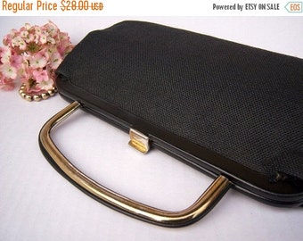 30% OFF SALE Antique black gold cloth handbag