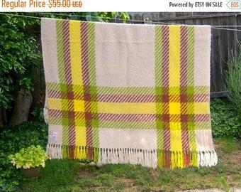 40% MOVING SALE SALE Vintage plaid blanket / Italian Wool / 70'S lime green yellow / Weinstocks stadium lap blanket / mod cabin decor 55x66