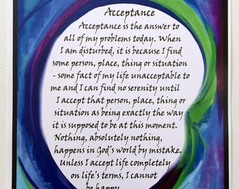 ACCEPTANCE 11x14 Motivational 12 Step Poster Sobriety Recovery Liberate Sponsor Inspire Eating Disorder Heartful Art by Raphaella Vaisseau
