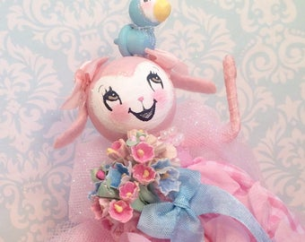 Lamb doll easter tree topper easter doll easter decor spring decor spring lamb vintage retro inspired pink and blue anthropomorphic lamb
