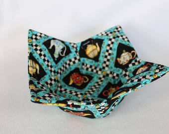 Reversible Quilted Microwave Bowl Cozy Pot Holder Bowl Holder Teapots
