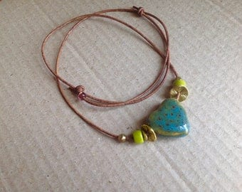 Leather and Heart Ceramic Beads, Long Adjustable Necklace