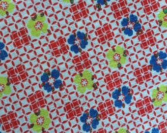 Vintage Red Green and Blue Floral Flowers Flour Sack Feedsack Fabric (No Longer a Sack)