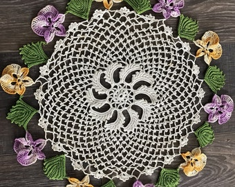 Vintage  Hand Crochet Pansy Pansies Round Doily