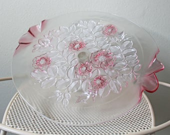 Mikasa Floral Cake Stand in Frosted Pink
