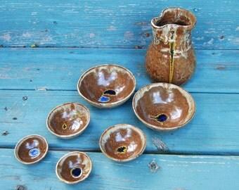 San San Kudo Sake Set in Brownstone- Made to Order