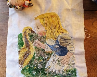 Vintage Embroidered Panel Spring Little Girl Baby Duckling Gosling Ostrich Chick Daisy Textile for Framing or Pillow Sewing Ephemera