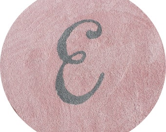 4ft, 5ft or 6ft Round Pale Pink Plush Rug with initial Inlay in Gray Brand New Custom Made -You Choose Initial