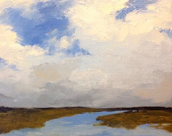 FLOW, oil painting, landscape, original oil, 100% charity donation, original painting  5x7 canvas panel, clouds