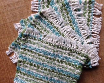 Handwoven mug mats in Emerald Isle cotton, set of 4