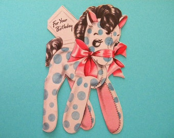 Vintage Birthday Card with Polka Dotted Pony or Horse in Used Condition