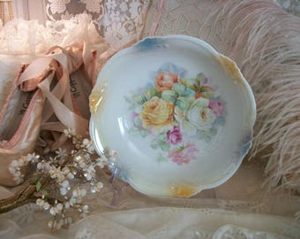 antique china decorative serving bowl, lush full bloom roses, pretty colors, tea party table, shabby cottage chic, germany