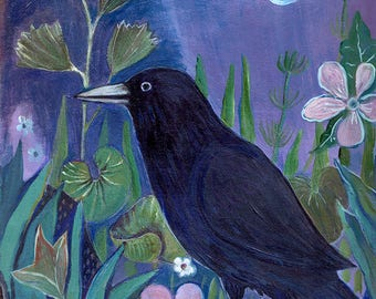 crow, nature, night, art print, wall decor