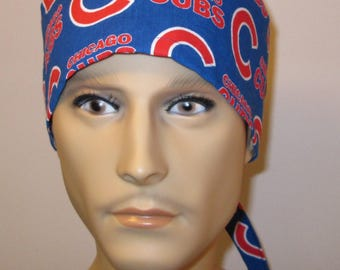 Mens Scrub Cap Chicago Cubs  OR Cap Nurses Cap Surgical Cap Teens Chemo Hat Free Ship USA Adjustable Chemo Hat