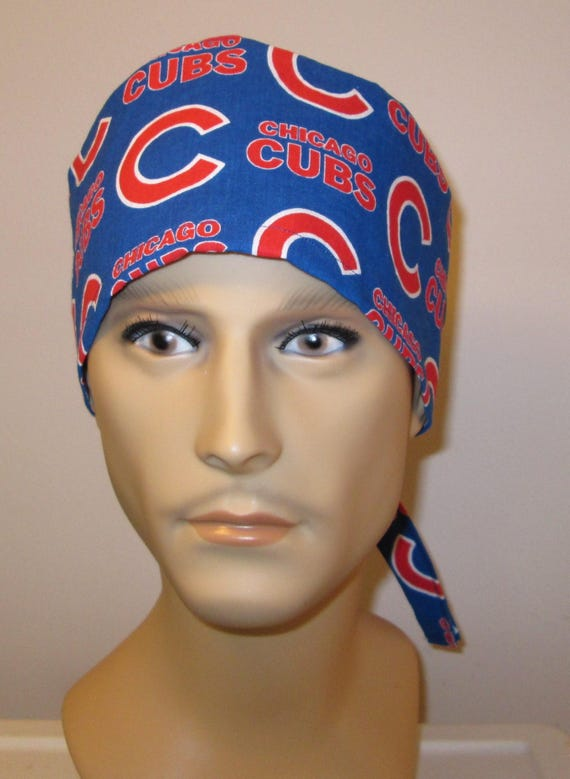 Mens Scrub Cap Chicago Cubs  OR Cap Nurses Cap Surgical Cap Teens Chemo Hat Free Ship USA Adjustable Chemo Hat