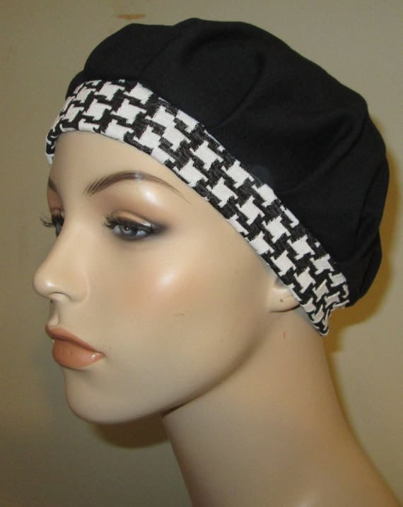 Pleated Knit Chemo Hat Black w Check band Womens Hat Cancer Beanie