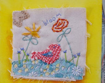 ARTWORK textile ORIGINAL, vintage fabrics with hand embroidery, bloom