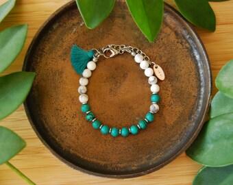 The Desert dreamer bracelet /turquoise / mala bracelet / minimalist bracelet / howlite / hematite /silver / tassel bracelet