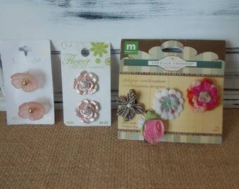 Flowers and PINK Buttons and Charms Enamel Fabric Sew Craft Jewelry Supply Accessory So Cute