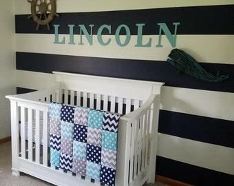 Navy Aqua Gray Chevron and Dots  3 Piece Baby Crib Bedding Set MADE TO ORDER Free Shipping