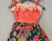 SAMPLE SALE -  Waverly Romper in Secret Garden - Size 4 ... Cuteness with ruffle trim and lovely print shorts!