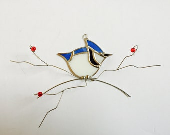 Frontal view bluejay stained glass dimentional suncatcher with wire twigs and red glass berries