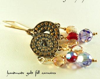 Boho bronze and crystal earrings | crystal drop earrings | boho dangle earrings