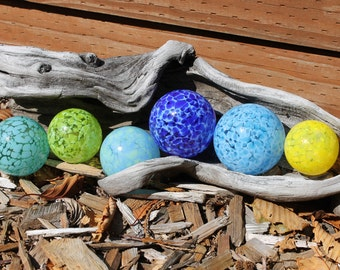 Set of 6 Colorful Hand Blown Glass Floats, Garden Balls, Gazing Orbs In Shades of Blue, Green and Yellow