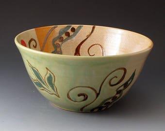 Serving Bowl with Pea and Leaf Design, Handmade Ceramic Bowl, Serving Dish, Bowls, Fine Arts Ceramics