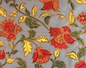 "vintage Folio fabric / autumn floral botanical print cotton / orange red yellow green / 67"" x 43.5"""