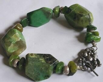 Green Summer Chrysoprase Boulder and fine silver  Statement bracelet