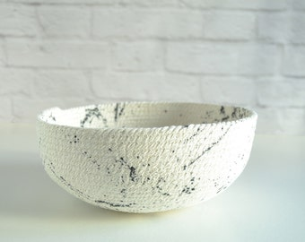 Black and white bowl, Modern basket decor, Living room decor, Mediterranean style, Decorative ornaments, Rope coil basketry, Fruit bowl