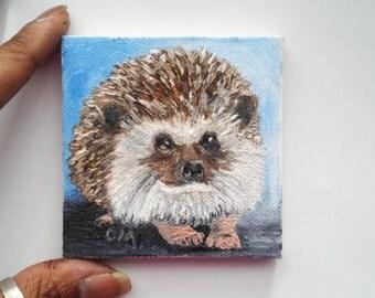 "Mini Oil Painting Hedgehog Pet Portrait 3""x 3"" READY to SHIP"