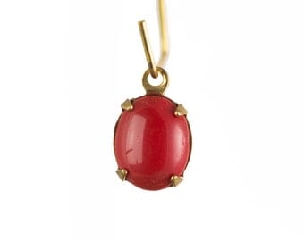 Vintage Opaque Red Oval Stones in 1 Loop Brass Setting ovl005F