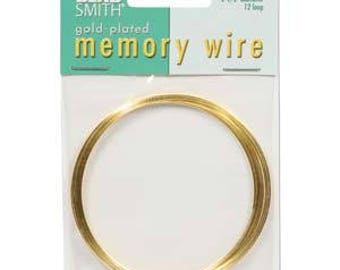 "Beadsmith Gold Plated Memory Wire 2 1/2"" Diameter, 12 Loop"