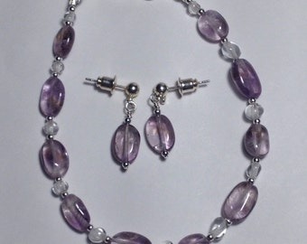Amethyst and clear Quartz delicate, petite, bracelet and earrings set