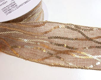 Beige Ribbon, Natural Beige Sequin Wired Fabric Ribbon 2 1/2 inches wide x 10 yards, Design Studio Chainette Ribbon