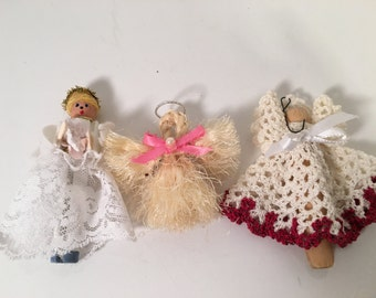 Handmade Angel Ornaments Vintage Set of 3 Christmas Tree