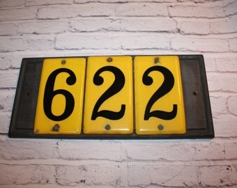 Ceramic House Numbers Six Two Two Yellow Black