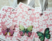 Flowers and Wooden Butterflies Gift Tags Set of Six Lunchbox Love Notes Handmade Birthday Party Favors Gift Girl Pink Floral Shower Baby