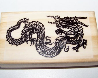 Black Asian Style Dragon new mounted rubber stamp