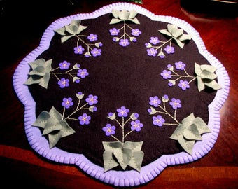 "Hand Stitched 17"" ""VIOLETS In My GARDEN"" Wool-Felt Penny Rug - Candle Mat - Primitive - Folk Art - Home Decor - Wool Applique - Fiber Art"