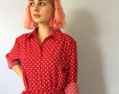 Vintage Shirt Dress - Draper's and Damon's - Red Polka Dot - Size 6