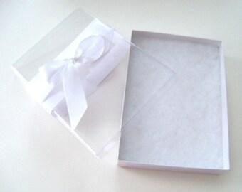 White handkerchief gift box with see through top, white ribbon