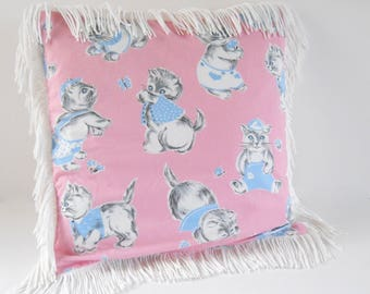 Pillow Cover 16 x 16 • Handmade from Vintage Fabric Pillow Cover • Vintage Fabric Pink with Kittens