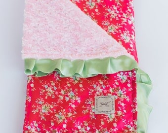 BABY GIRL BLANKET / Roses satin print with soft plush pink minky, Minky baby blanket, Unique baby shower  gift/ one of a kind
