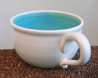 Soup Mug - Large Stoneware Pottery Coffee Mug in Turquoise Blue, 20 oz Ceramic Mug, Cappuccino Cup