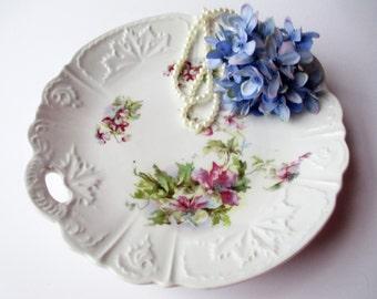 Vintage Handled Platter Purple Green Floral
