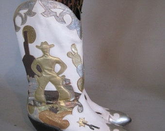 20% OFF SALE size 6.5 - heehaw - 1980s Gold & Metallic Leather COWBOY Boots by Zalo